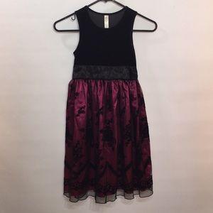 Girls Size 7 Cherokee Dress Black Velour Fushia